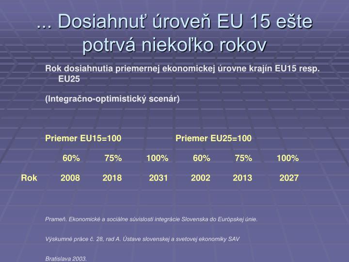 ... Dosiahnuť úroveň EU 15 ešte potrvá niekoľko rokov