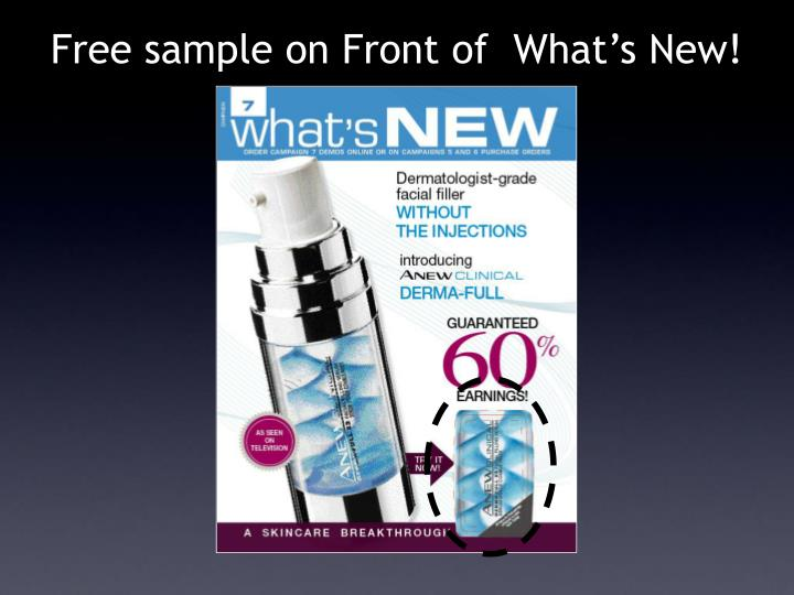 Free sample on Front of  What's New!