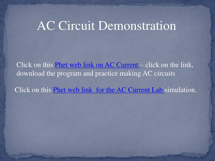 AC Circuit Demonstration