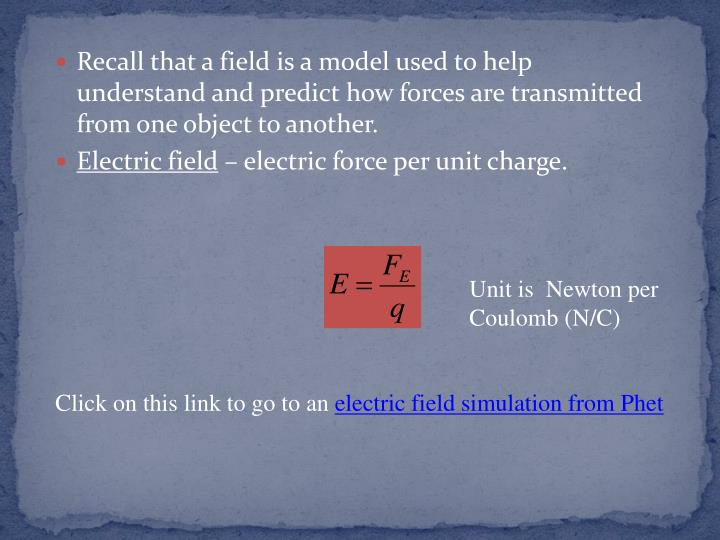 Recall that a field is a model used to help understand and predict how forces are transmitted from one object to another.