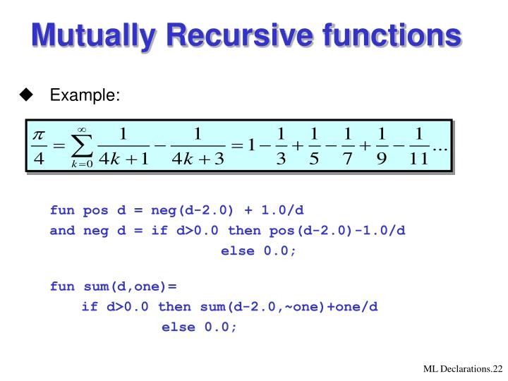 Mutually Recursive functions