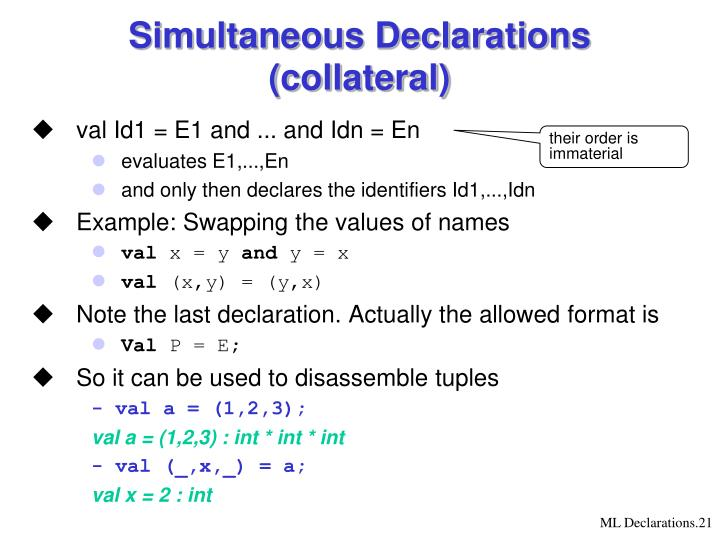 Simultaneous Declarations