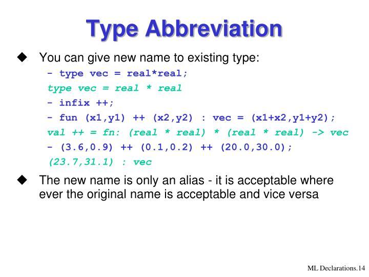 Type Abbreviation