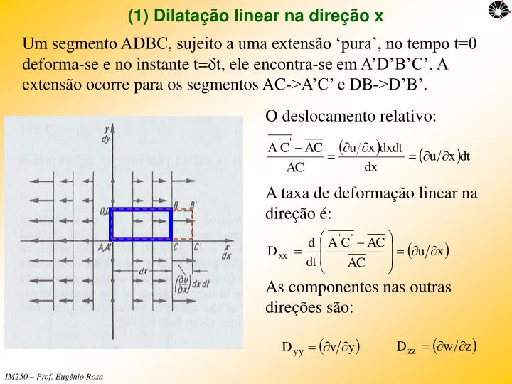 (1) Dilatação linear na direção x