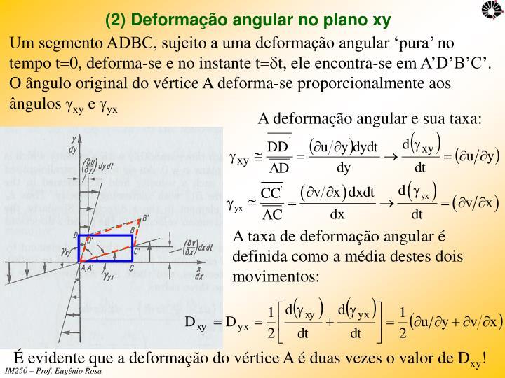 (2) Deformação angular no plano xy