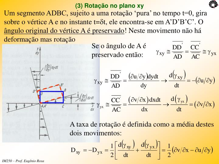 Um segmento ADBC, sujeito a uma rotação 'pura' no tempo t=0, gira sobre o vértice A e no instante t=
