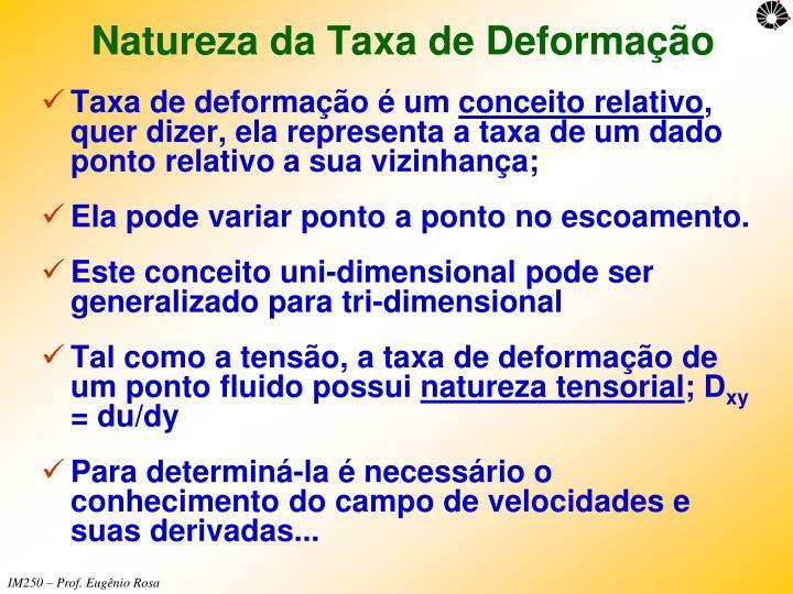Natureza da Taxa de Deformação