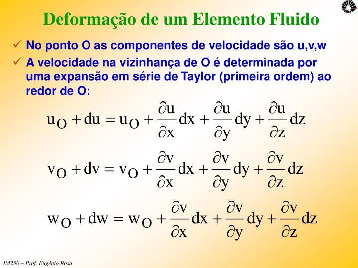 Deformação de um Elemento Fluido