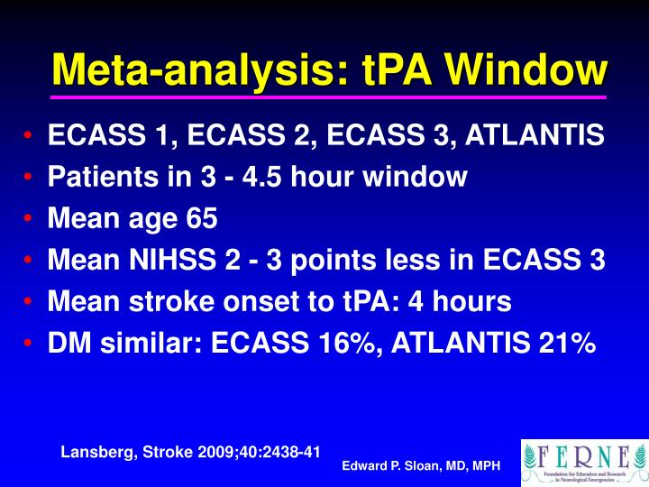 Meta-analysis: tPA Window