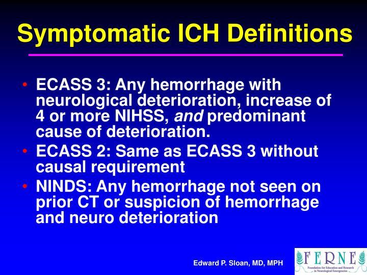 Symptomatic ICH Definitions