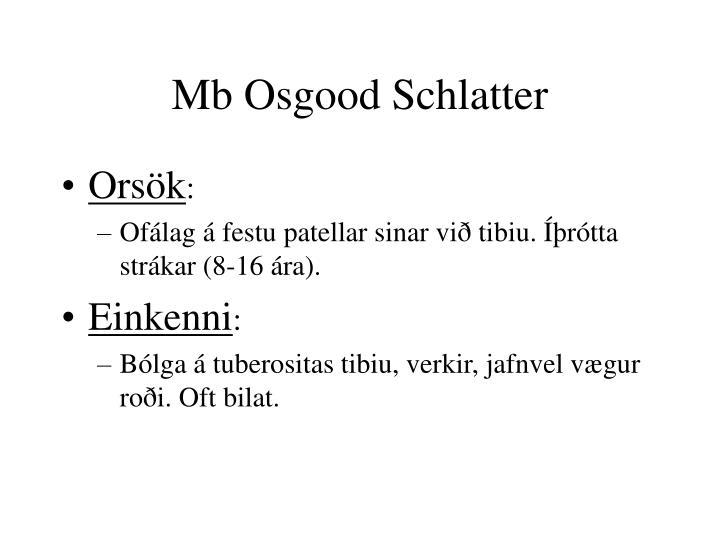 Mb Osgood Schlatter