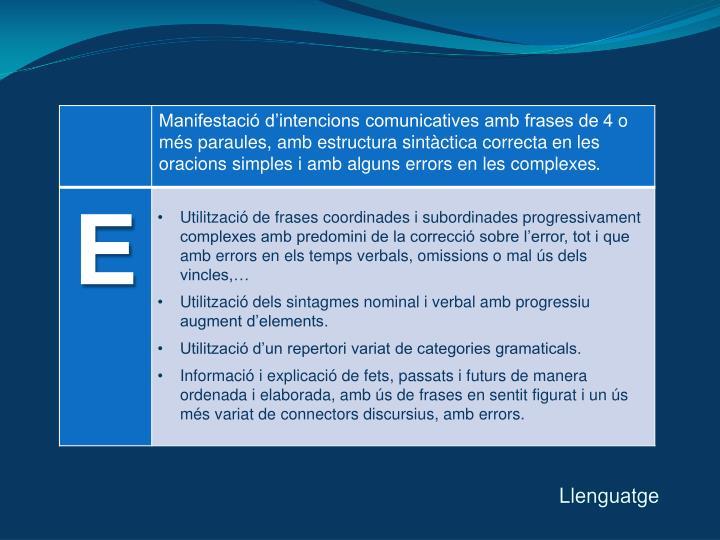 Utilització de frases coordinades i subordinades progressivament complexes amb predomini de la correcció sobre l'error, tot i que amb errors en els temps verbals, omissions o mal ús dels vincles,…