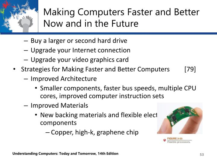 Making Computers Faster and Better Now and in the Future