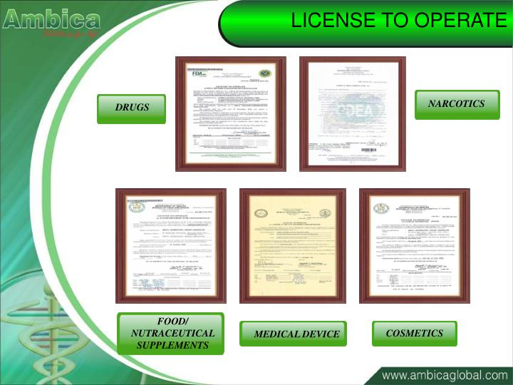 LICENSE TO OPERATE