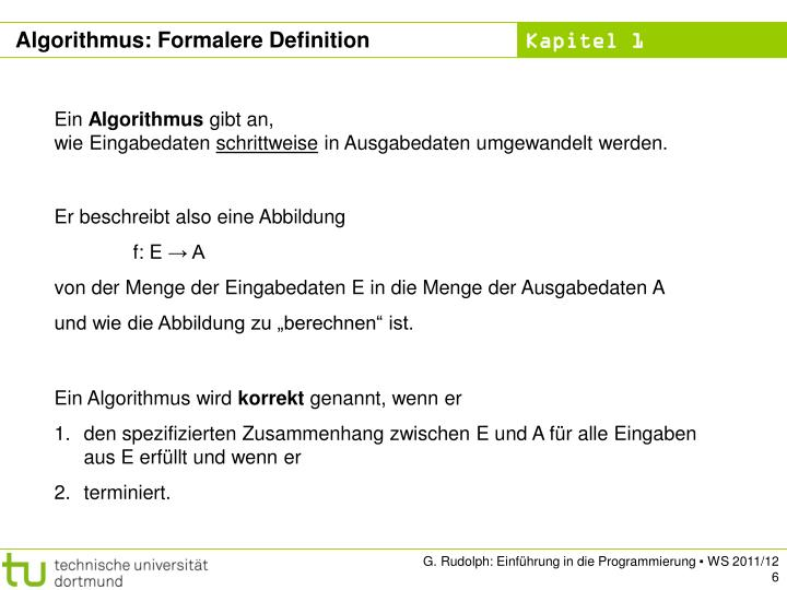 Algorithmus: Formalere Definition