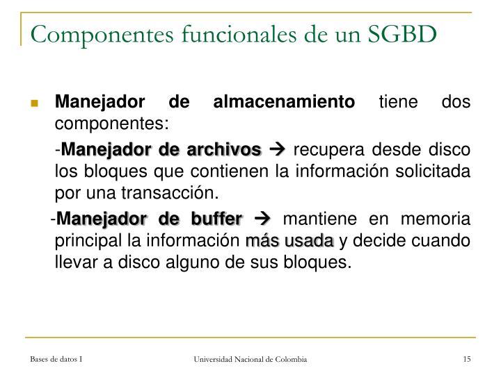 Componentes funcionales de un SGBD
