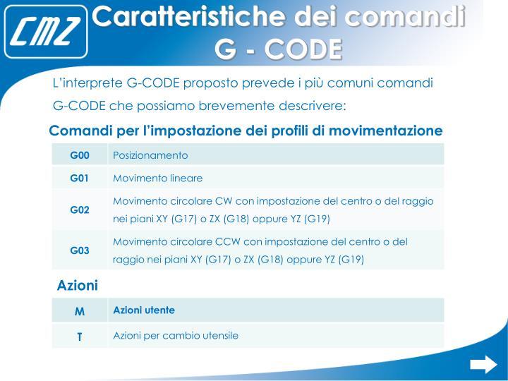 Caratteristiche dei comandi G - CODE