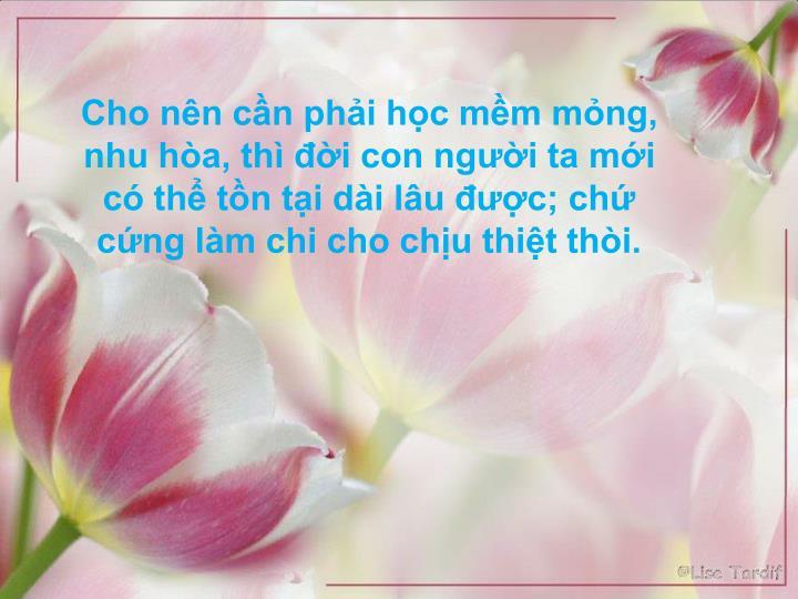 Cho nn cn phi hc mm mng, nhu ha, th i con ngi ta mi c th tn ti di lu c; ch cng lm chi cho chu thit thi.