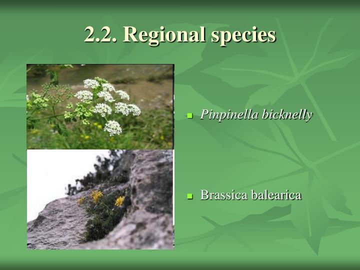 2.2. Regional species
