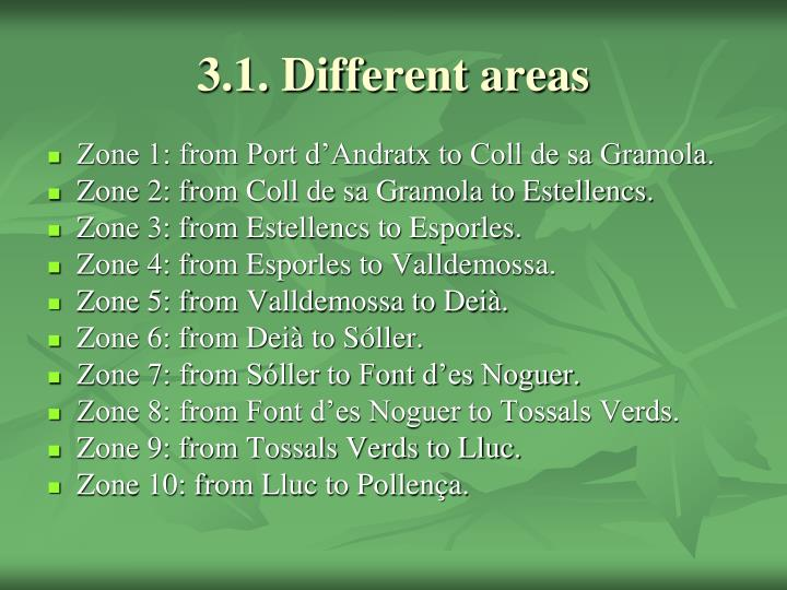 3.1. Different areas
