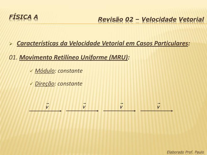 Características da Velocidade Vetorial em Casos Particulares