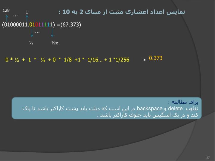 نمایش اعداد اعشاری مثبت از مبنای 2 به 10 :