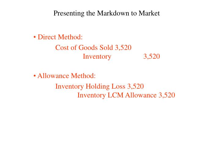 Presenting the Markdown to Market