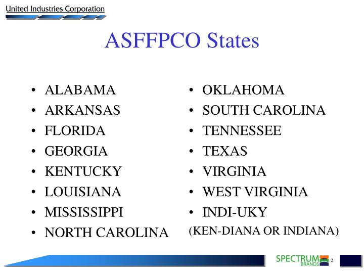 Asffpco states