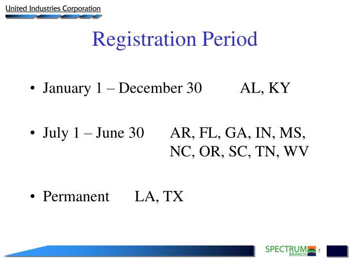 January 1 – December 30AL, KY