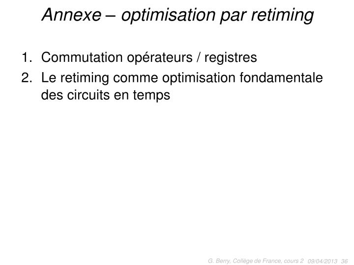 Annexe – optimisation par retiming
