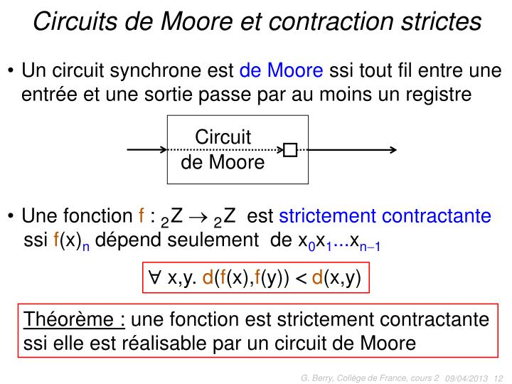 Circuits de Moore et contraction strictes