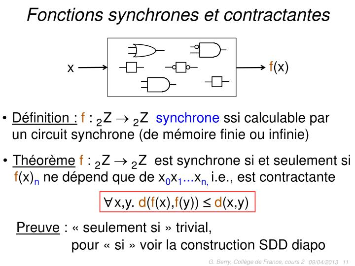 Fonctions synchrones et contractantes