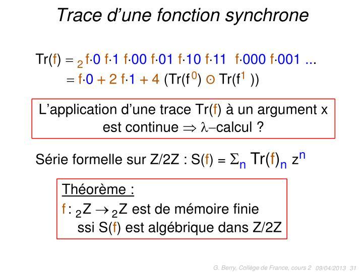 Trace d'une fonction synchrone