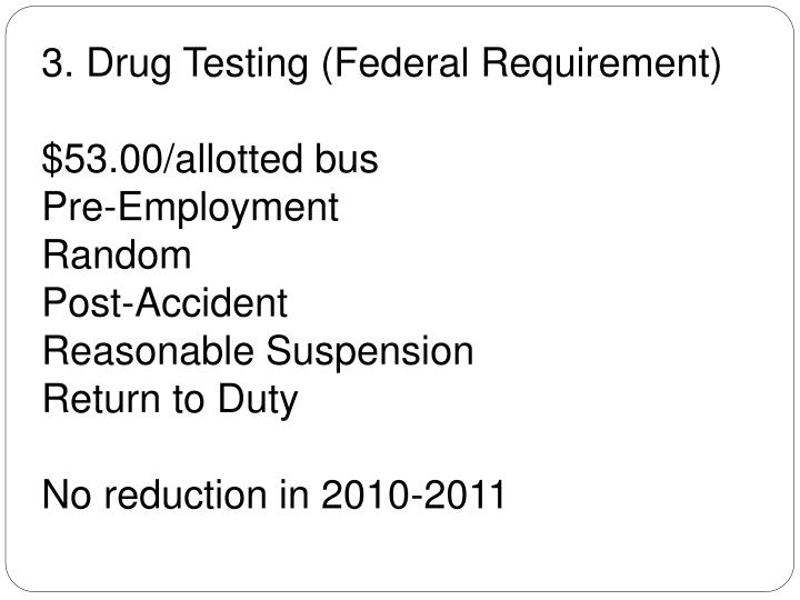 3. Drug Testing (Federal Requirement)
