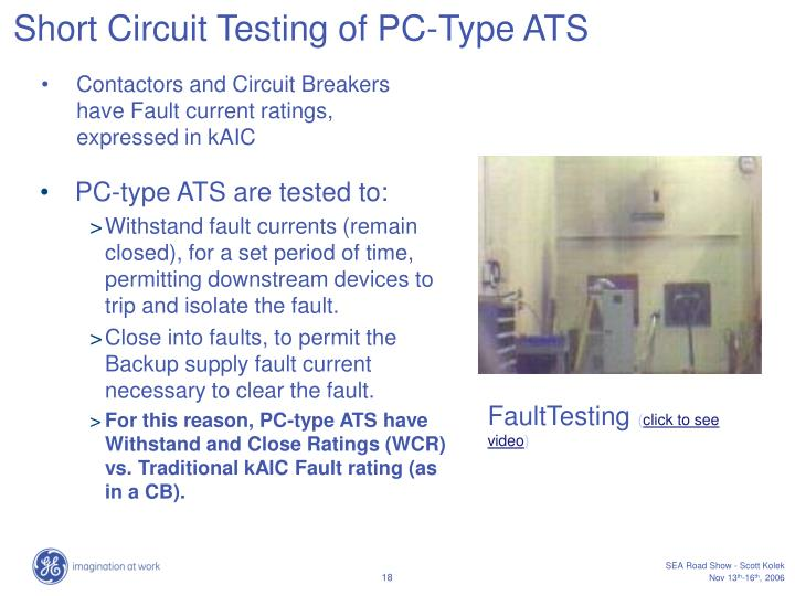 Short Circuit Testing of PC-Type ATS