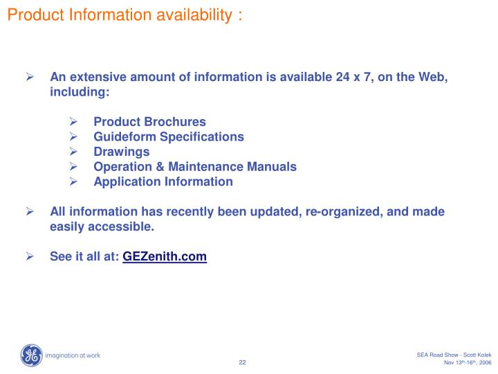 Product Information availability :