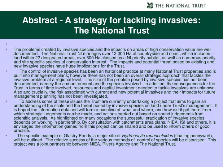 Abstract - A strategy for tackling invasives: