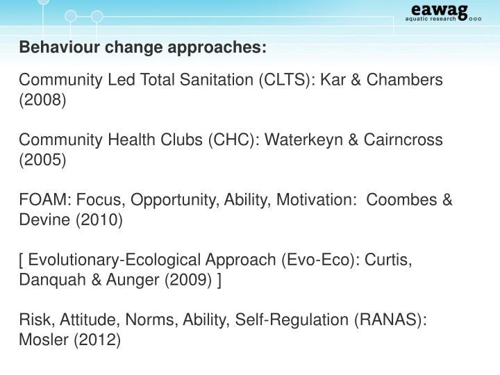 Behaviour change approaches: