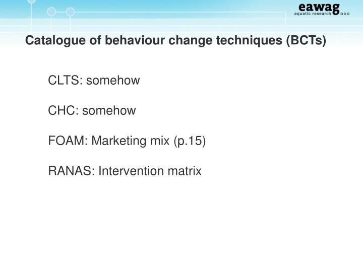 Catalogue of behaviour change techniques (BCTs)