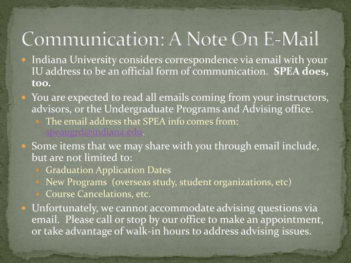 Communication: A Note On E-Mail