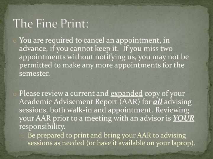 The Fine Print: