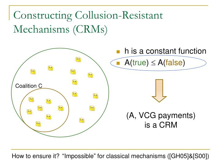 Constructing Collusion-Resistant Mechanisms (CRMs)