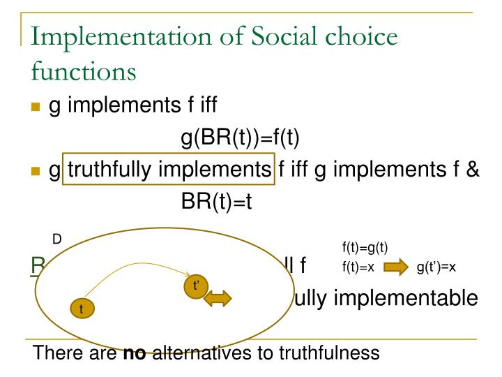 Implementation of Social choice functions