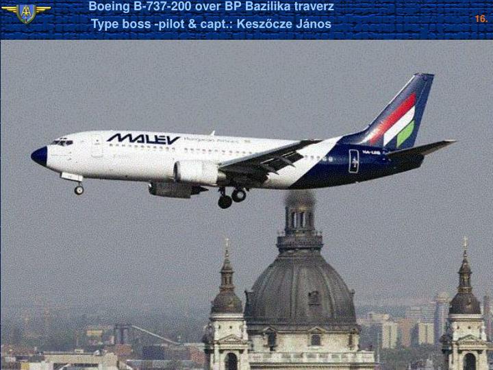 Boeing B-737-200 over BP Bazilika traverz