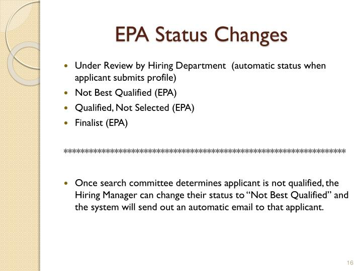 EPA Status Changes