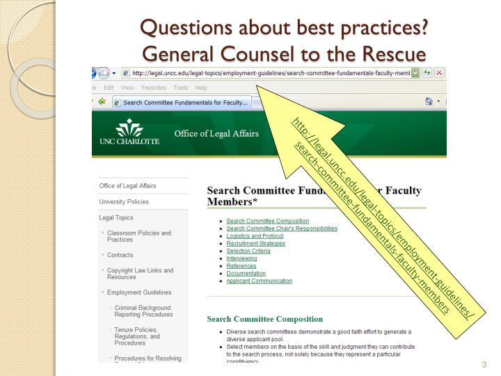 Questions about best practices general counsel to the rescue