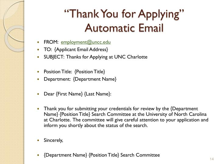 """Thank You for Applying"""