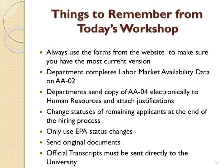 Things to Remember from