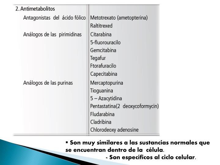 Son muy similares a las sustancias normales que se encuentran dentro de la  célula.