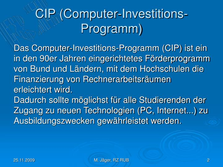 Cip computer investitions programm